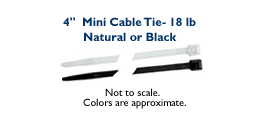 "4"" Mini Cable Tie - 18lb"